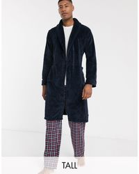 French Connection Tall Fleece Dressing Gown - Blue