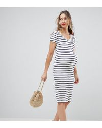 ASOS - Asos Design Maternity Midi Short Sleeve Bodycon Dress With Popper Front In Stripe - Lyst