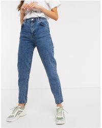 Pull&Bear – Mittelblaue Mom-Jeans mit elastischer Taille