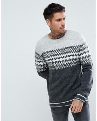 River Island | Fairisle Sweater In Gray | Lyst