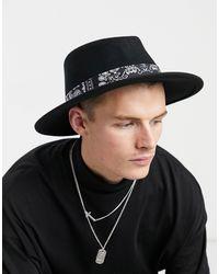 ASOS Cappello Pork Pie regolabile a falda larga nero con nastro con stampa bandana