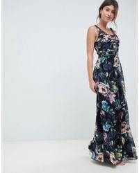 Little Mistress - Plunge Front Maxi Dress In Dark Floral Print - Lyst