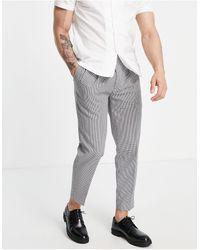 TOPMAN Pantalon fuselé à carreaux - Marron