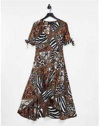 AX Paris Платье На Запахе С Глубоким Вырезом И Комбинированным Звериным Принтом -multi - Многоцветный
