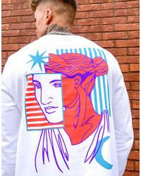 ASOS Long Sleeve T-shirt With Back Statue Head Print - White