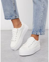 ASOS Day Light Chunky Flatform Lace Up Trainers - White