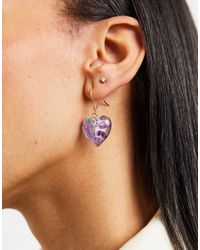 Monki Minna Heart Drop Earrings - Blue