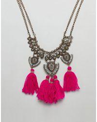 ASOS - Design Statement Engraved Iridescent Jewel And Tassel Bib Necklace - Lyst