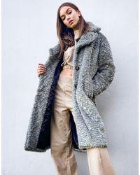 Object Longline Faux Fur Coat - Gray