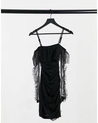 Naanaa Bardot Mesh Bodycon Dress - Black