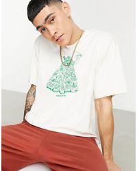 adidas Originals T-shirt bianco sporco con stampa di Stan Smith