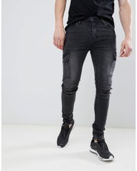ASOS - Super Skinny Biker Jeans With Cargo Pockets In Washed Black - Lyst