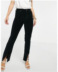 ASOS Sassy - Cigarette-jeans Van Corduroy Met Hoge Taille En Split - Zwart