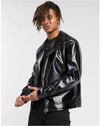ASOS Блестящая Байкерская Куртка Из Искусственной Кожи Черного Цвета - Черный