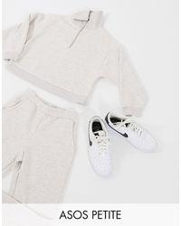 ASOS Asos Design Petite Tracksuit Premium Shawl Collar Sweat / jogger - White