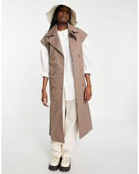 Object Organic Cotton Sleeveless Trench Coat - Brown