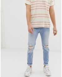 Hollister Jeans skinny invecchiati a lavaggio leggero - Blu