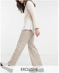 Reclaimed (vintage) Pantalones beis holgados con estampado a cuadros - Marrón
