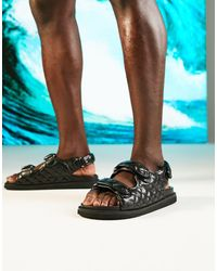 ASOS Quilted Sandal With Back Strap - Black