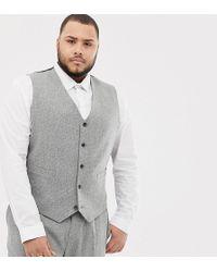 ASOS Chaleco de traje ajustado en gris con pespuntes - Multicolor
