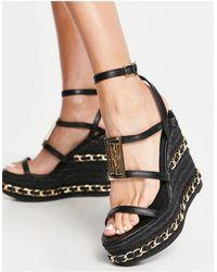 River Island Chain Branded Heeled Espadrille Wedge Sandal - Black