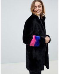 Barneys Originals - Colourblock Sleeve Faux Fur Coat - Lyst