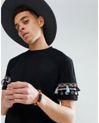 ASOS - Design Festival Relaxed Longline T-shirt With Geo- Coin Sleeve Taping - Lyst