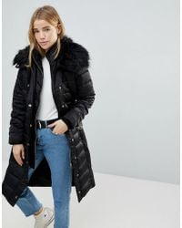 Miss Selfridge - Faux Fur Collar Longline Padded Coat - Lyst