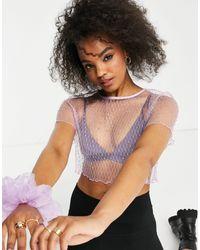 Lola May Diamonte Crop Top - Purple