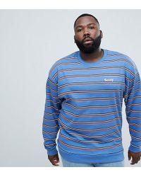38f25f0f325 Plus Oversized Retro Striped Sweatshirt With Embroidery - Blue