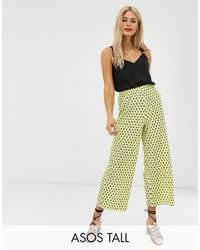 ASOS Asos Design Tall Plisse Spot Culotte Trousers - Yellow