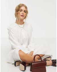 Sister Jane Midi Shirt Dress With Vintage Bib Collar - White