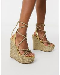 ASOS Think Tie Leg Rope Wedges - Metallic