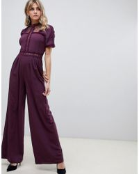 ASOS - Tea Jumpsuit With Lace Inserts - Lyst