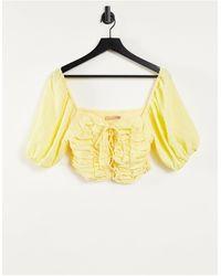 Skylar Rose Tie Front Crop Top - Yellow