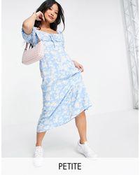 New Look Floral Sweetheart Midi Dress - Blue
