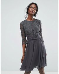 Elise Ryan - Ruched Waist Lace Midi Dress With 3/4 Length Sleeve - Lyst