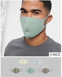 ASOS 5 Pack Organic Cotton Face Coverings - Green