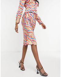 Never Fully Dressed Атласная Юбка-комбинация С Радужным Плиточным Принтом От Комплекта -многоцветный