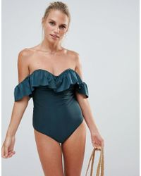 French Connection - Off Shoulder Ruffle Swimsuit - Lyst