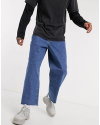 The Ragged Priest Jeans Skater Jeans With Raw Hem - Blue