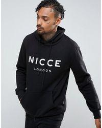 Nicce London Schwarzer Kapuzenpullover mit großem Logo