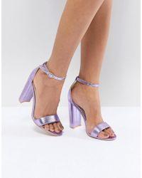 Glamorous - Metallic Purple Barely There Block Heeled Sandals - Lyst