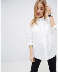 28df3e67e30e8e ASOS - Slim Boyfriend Shirt With Pleat Detail Back In Stretch Cotton - Lyst  · Minimum - Off Shoulder ...