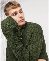 Mennace Twist Utility Crew Neck Sweater - Green