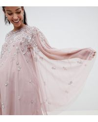 92505efbe2cce ASOS - Asos Design Maternity Mini Dress With Heavily Embellished Cape - Lyst
