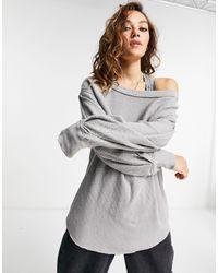 Free People Volume Sleeve Sweatshirt - Grey
