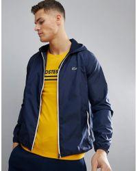 Lacoste Sport Contrast Zip Jacket In Navy - Blue