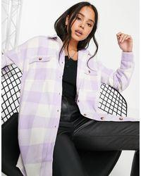 Noisy May Camicia giacca oversize lilla a quadri - Viola