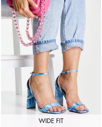 ASOS Wide Fit Noelle Barely There Block Heeled Sandals - Blue